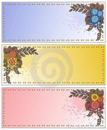 Spattered cards with flowers