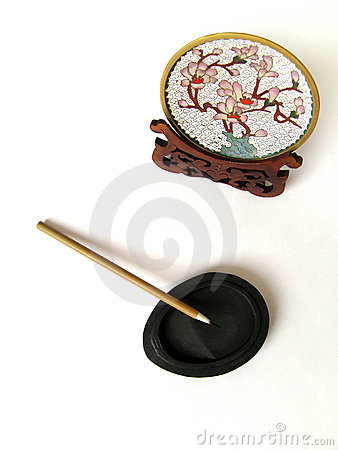 Spazzola cinese della penna sulla pietra dell inchiostro