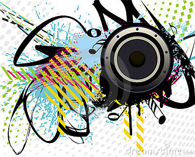 speaker on colourful grunge