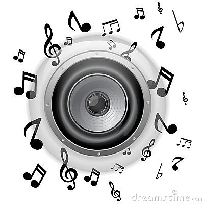 Free Speaker Glass Button With Music Notes Stock Image - 23890891