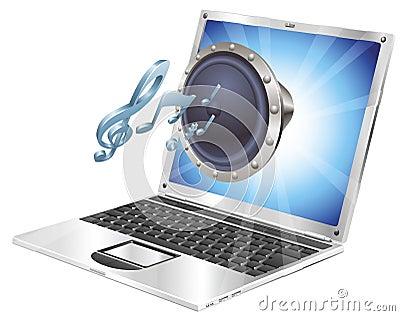 Speaker icon laptop concept