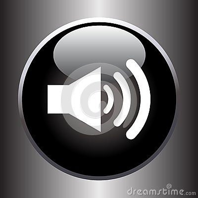 Free Speaker Volume Icon On Black Glass Button Stock Photo - 46875440