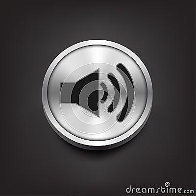 Free Speaker Volume Icon On Silver Button Royalty Free Stock Image - 49051966