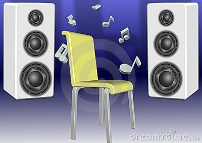 Speakers and a chair