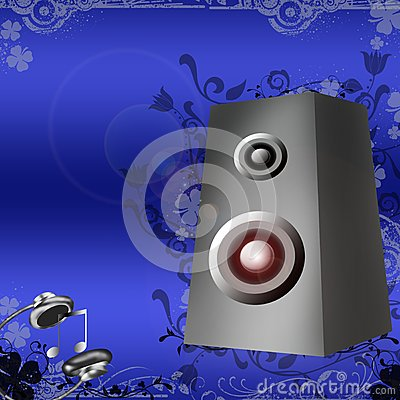 Speakers and headphones on blue background with f