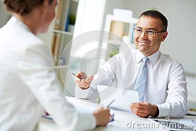 Speaking at meeting