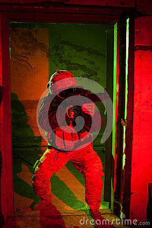 Free Specal Forces Soldier During Night Mission Royalty Free Stock Image - 44761906