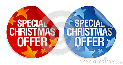 Special Christmas offer stickers.