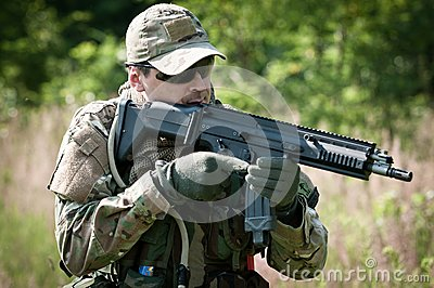 Special forces soldier aiming