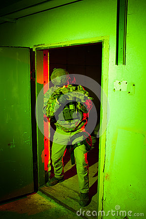 Free Special Forces Soldier During Night Mission Royalty Free Stock Photo - 44761915