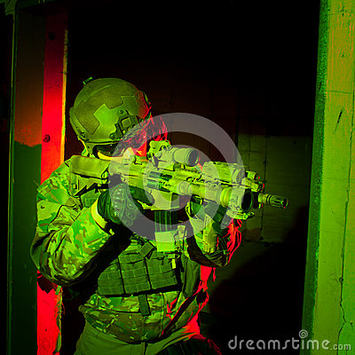 Free Special Forces Soldier During Night Mission Stock Photo - 44762130