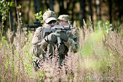 Special forces soldiers on patrol
