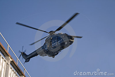 Special Forces- SWAT Agent in Open Helicopter Door Editorial Stock Image