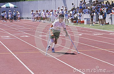 Special Olympics athlete on crutches Editorial Stock Photo