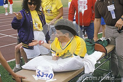 Special Olympics athlete on stretcher, Editorial Photo