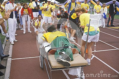 Special Olympics athlete on stretcher Editorial Image