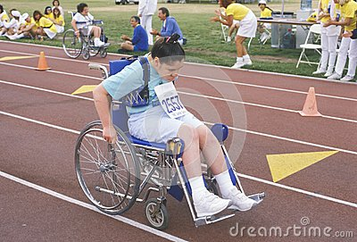 Special Olympics athlete in wheelchair Editorial Stock Photo