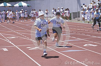 Special Olympics athletes running race Editorial Photography