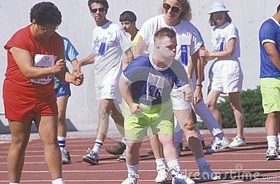 Special Olympics athletes at start line Editorial Photography
