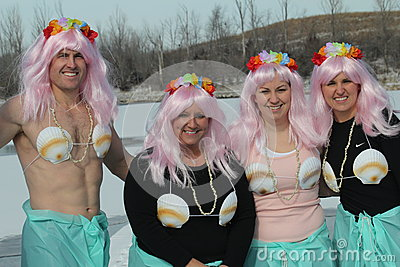 Special Olympics Nebraska Polar Plunge with costumed participants Editorial Stock Photo