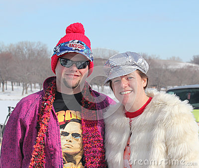 Special Olympics Nebraska Polar Plunge with costumed participants Editorial Image