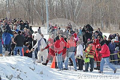 Special Olympics Nebraska Polar Plunge Crowd with Polar Bear Editorial Stock Image