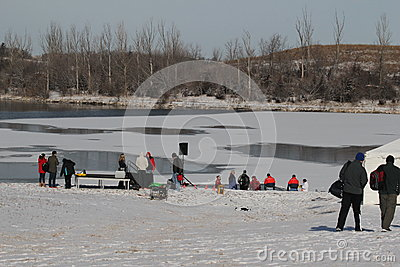 Special Olympics Nebraska Polar Plunge Lake and Setup Editorial Stock Image