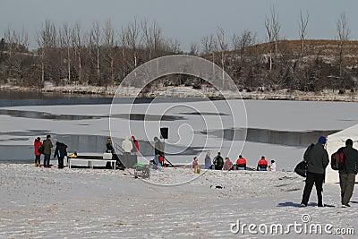 Special Olympics Nebraska Polar Plunge Lake and Setup Editorial Stock Image