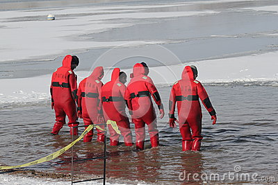 Special Olympics Nebraska Polar Plunge Safety Divers Editorial Image