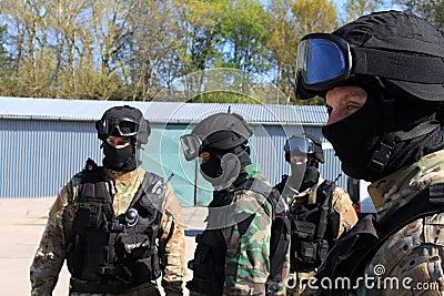 Special police commandos arrest a terrorist