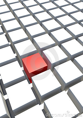 Free Special Single Red Cube And White Cube Royalty Free Stock Photo - 14235585