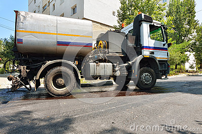 Special truck for road asphalt paving Editorial Photo