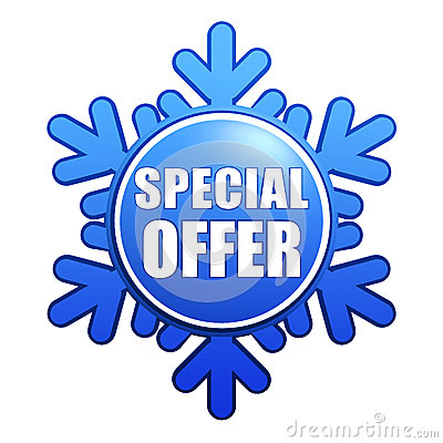 Special winter offer snowflake label