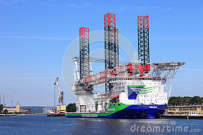 A specialized ship for installing wind turbines Editorial Image