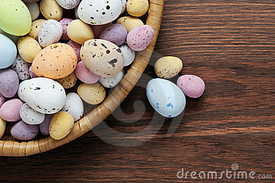 Speckled chocolate easter eggs in a basket
