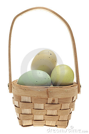 Speckled Easter Eggs in a Basket Isolated