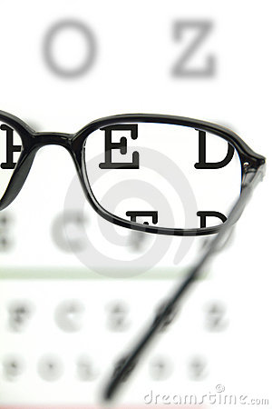 Free Spectacles On An Eye Chart Royalty Free Stock Images - 19295699