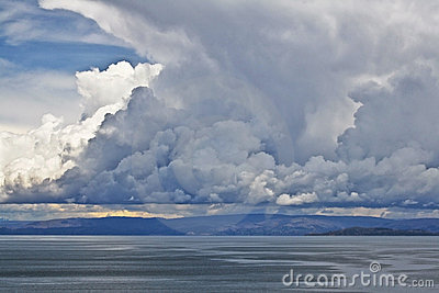 Spectacular cloudscape over Lake Titicaca, Peru