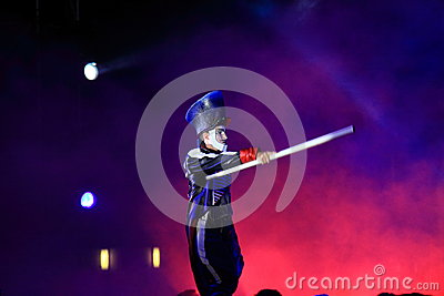 Spectacular marching act at night