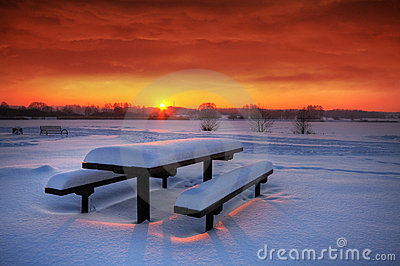 Spectaculat winter sunset