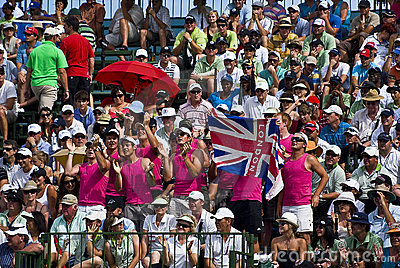 Spectators Pack the Pavilion - 18th Green Editorial Image