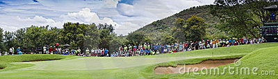 Spectators on the 8th Green - Panoramic Editorial Photography
