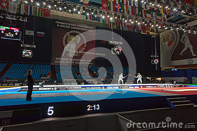 Spectators and athletes on championship of world in fencing Editorial Stock Photo