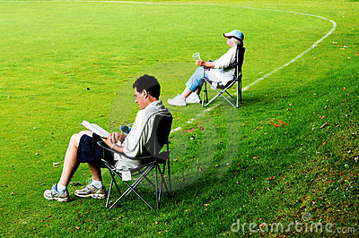 Spectators in deckchairs