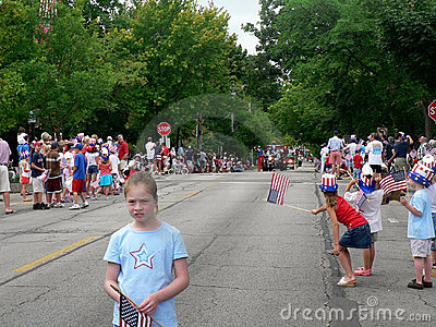 Spectators at Fourth of July parade Editorial Photo