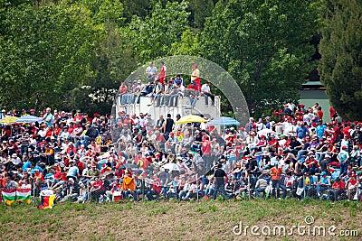 Spectators on grass on The Formula 1 Grand Prix Editorial Image