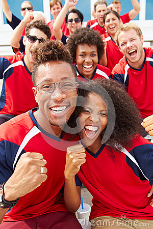 Free Spectators In Team Colors Watching Sports Event Stock Photography - 40297432