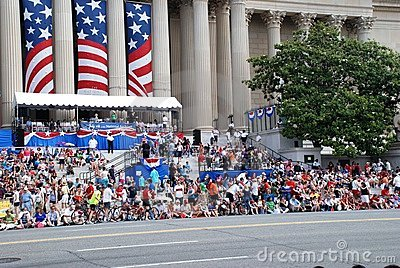 Spectators of Independence Day Parad Editorial Stock Image