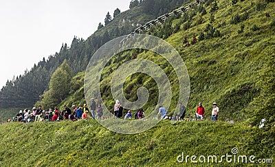 Spectators of Le Tour de France Editorial Stock Image