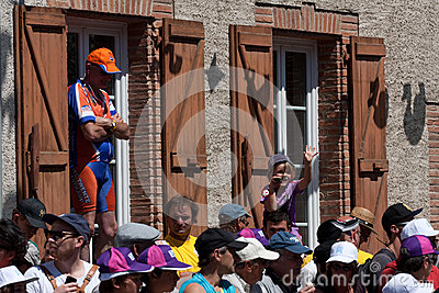 Spectators wearing caps Editorial Stock Image